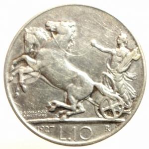 reverse: Casa Savoia. Vittorio Emanuele III. 10 Lire 1927. BB