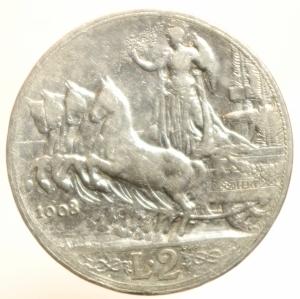 reverse: Casa Savoia. Vittorio Emanuele III. 1900-1946. 2 lire 1908. Gig 96. BB.