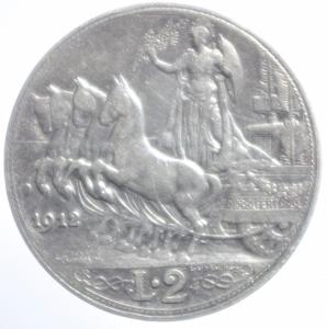reverse: Casa Savoia. Vittorio Emanuele III. 2 lire 1912. Gig 99. qBB.