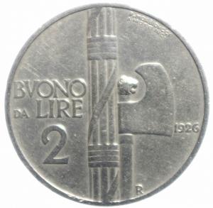 obverse: Casa Savoia. Vittorio Emanuele III. 1900-1946. Buono da 2 lire 1926 fascio. Gig 108. qBB\BB. R.