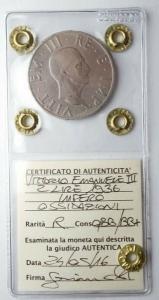 obverse: Casa Savoia - Vittorio Emanuele III. 2 lire 1936 Impero. Rara. qBB/BB+ Periziata
