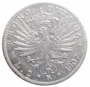 reverse: Casa Savoia. Vittorio Emanuele III. 2 Lire 1907. Montenegro 146-C27-P731. Peso 10,00 gr. Diametro 27 mm. BB. ex Tintinna 61, lotto 7035, aggiudicata ma non pagata.