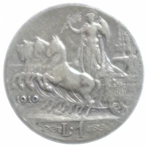reverse: Casa Savoia. Vittorio Emanuele III. 1 Lira 1910. MB+