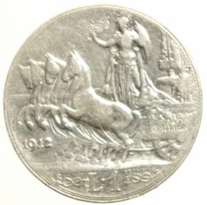 reverse: Casa Savoia. Vittorio Emanuele III. 1900-1943. Lira 1912. AG.Pag. 771. BB