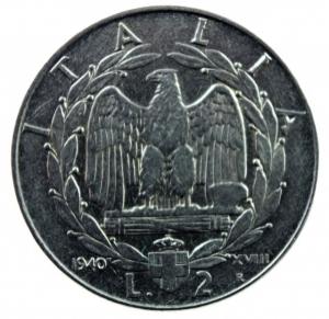 obverse: Casa Savoia. Vittorio Emanuele III. 1900-1943. 2 Lire 1940. Antimagnetica. qSPL.