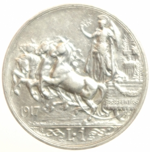 reverse: Casa Savoia. Vittorio Emanuele III. 1 lira 1917 quadriga briosa. Gig 139. Argento.BB.