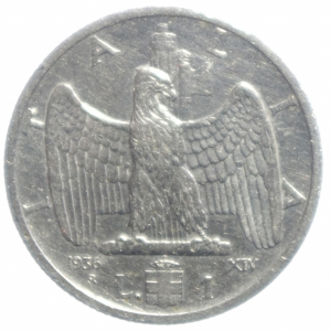 obverse: Casa Savoia. Vittorio Emanuele III. 1 Lira 1936 Impero anno XIV. BB