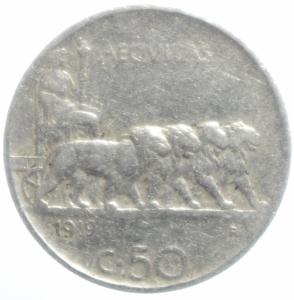 obverse: Casa Savoia. Vittorio Emanuele III. 50 Centesimi Leoni 1919 Contorno rigato. qBB. NC
