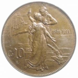 obverse: Casa Savoia. Vittorio Emanuele III. 10 Centesimi del Cinquantenario 1911. Pagani 863. peso 10,00 g. Diametro 30 mm.qFDC
