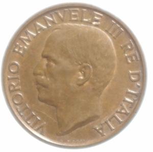 obverse: Casa Savoia. Vittorio Emanuele III. 10 Centesimi 1921 FDC. Rame rosso