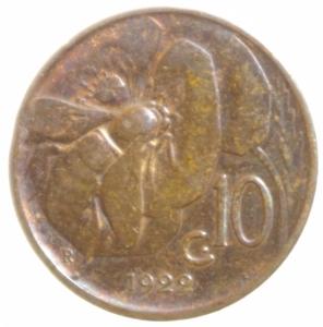 reverse: Casa Savoia. Vittorio Emanuele III. 10 Centesimi 1922. Peso 5,24 gr. Diametro 22,45 mm.BB+. Parziale Rame Rosso.