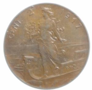 obverse: Casa Savoia. Vittorio Emanuele III. 2 Centesimi 1917. Peso 2,05 gr. Diametro 20,00mm.SPL