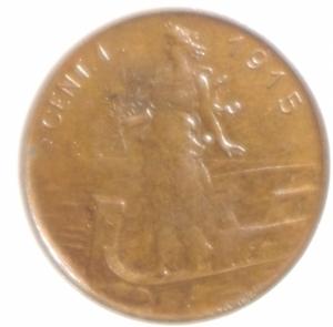 reverse: Casa Savoia. Vittorio Emanuele III. Centesimo 1915. Pagani 952. SPL.Rame Rosso