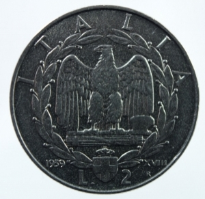obverse: Casa Savoia. Vittorio Emanuele III. 1940-1943. 2 Lire 1939. Antimagnetica. SPL.