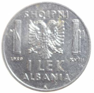 reverse: Casa Savoia. Vittorio Emanuele III. Albania. 1939-1943. 1 Lek 1939.qFDC. R.