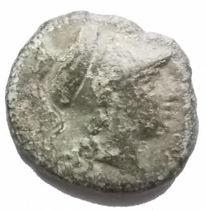 obverse: Mondo Greco - Sicilia. Morgantina. Mercenari Hispani. Dopo il 211 a.C.Ae. D/ Testa Elmata di Atena verso destra. R/ Cavaliere verso destra. Peso gr. 3,57. Diametro mm max 16,2. qBB.Patina verde.
