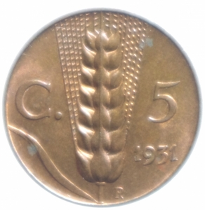obverse: Casa Savoia. Vittorio Emanuele III. 1900-1943. 5 centesimi 1931  Spiga . CU. qFDC.
