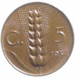 obverse: Casa Savoia. Vittorio Emanuele III. 5 centesimi 1934. Ae. qFDC. Rame rosso