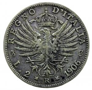 obverse: Casa Savoia. Vittorio Emanuele III. 1900-1943. 2 lire 1906. AG. Pag. 730. MB+\BB+.