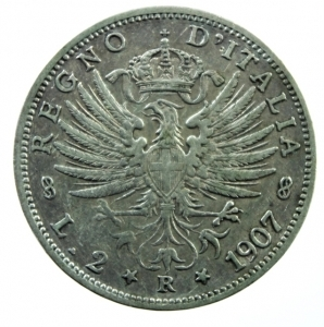 obverse: Casa Savoia. Vittorio Emanuele III. 1900-1943. 2 lire 1907. AG. Pag. 731. Buon BB.