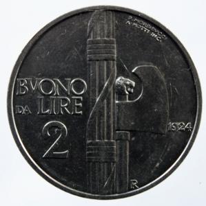 obverse: Casa Savoia. Vittorio Emanuele III. 1900-1943. 2 lire 1924. Ni. Pag. 742. SPL.