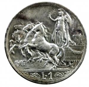obverse: Casa Savoia. Vittorio Emanuele III. 1900-1946. Lira 1917. AG. Pag. 775. Mont. 202. FDC.