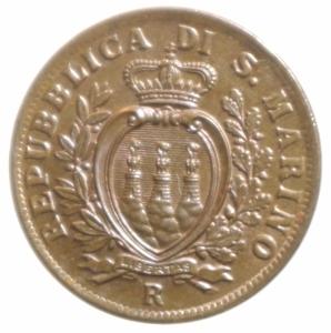 obverse: Zecche Italiane. San Marino. 10 centesimi 1935. Pag.373. FDC. Rame rosso.