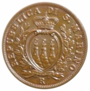 obverse: Zecche Italiane.San Marino. Vecchia Monetazione. 1864-1938. 10 centesimi 1936. Ae. Gig. 34. FDC. Rame rosso.