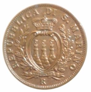 obverse: Zecche Italiane. San Marino. 10 centesimi 1937. Pag.375. FDC. Rame rosso.