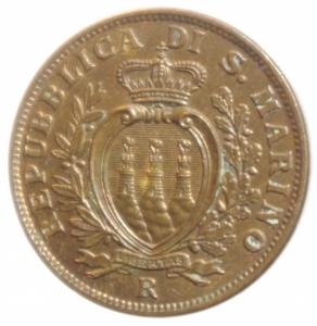 obverse: Zecche Itliane.San Marino. Vecchia Monetazione ( 1864-1938). 10 centesimi 1938. AE. FDC.Rame Rosso