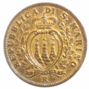 obverse: Zecche Italiane.San Marino. Vecchia Monetazione ( 1864-1938). 5 centesimi 1935. AE. qFDC/FDC.Rame Rosso