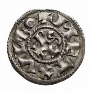 reverse: Monete del Mondo - Francia.Charles the Simple (879-929).AR Denier de Melle.Depeyrot 627. MEC 1, 960-1.AR.g. 1.46mm. 22.2. qSPL-SPL. Patina