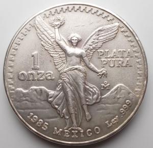 obverse: Monete del Mondo - Messico. Mexico libertad onza plata pura 1 oz 1985 silver argento oncia