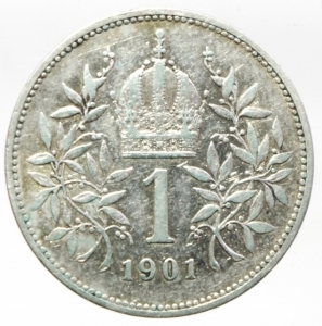 reverse: Monete Estere.Austria.Francesco Giuseppe.1 Corona 1901.Ag.Peso4,80 gr.BB+