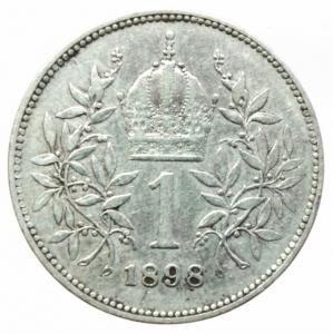 reverse: Monete Estere.Austria.Francesco Giuseppe.1 Corona 1898.Ag.Peso4,80 gr.BB+
