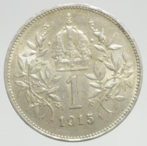 obverse: Monete Estere.Austria.Francesco Giuseppe.1 Corona 1915.Ag.Peso4,80 gr.BB+