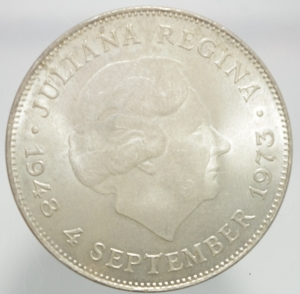 reverse: Monete Estere. Olanda. Giuliana Regina. 10 Gulden 1973. Ag. FDC.