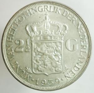 obverse: Monete Straniere. Olanda. Guglielmina. 2 1\2 Gulden 1939. Ag. SPL.