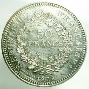 obverse: Monete Straniere. Francia. 1979. 50 Franchi. AG. qFDC. R.