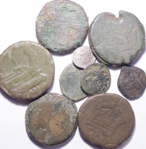 obverse: Lotti.Repubblica Romana.Lotto di 9 monete in Ae e Ag.Mediamente MB\MB+