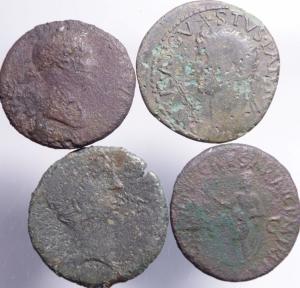 obverse: Lotti.Impero Romano.Lotto di 4 monete imperiali da Giulio Cesare,Antonia, Livia,Augusto,mediamente MB\qBB.***