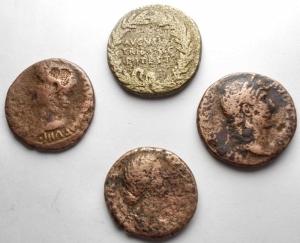 reverse: Lotti - Impero Romano. Avgvsto, Tiberio, Adriano, Faustina Figlia. Lotto di 4 Medi Bronzi