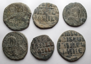 obverse: Lotti - Bizantini. Insieme di 6 Follis.