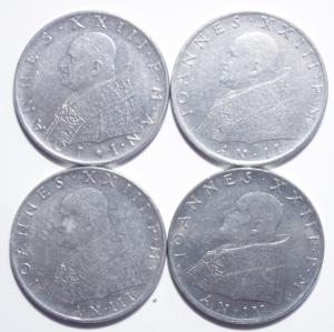 obverse: Lotti.Zecche Italiane.Vaticano.Lotto di 4 monete da 100 lire di Giovanni XXIII, ottime conservazioni.