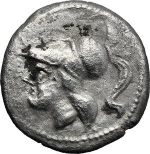 obverse: Northern Apulia, Arpi. AR Triobol, c. 215-212 BC