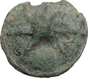 reverse: Northern Apulia, Luceria. AE Cast Quadrunx, 217-212 BC