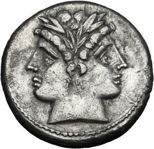 obverse: Anonymous. AR Quadrigatus, 222-215 BC