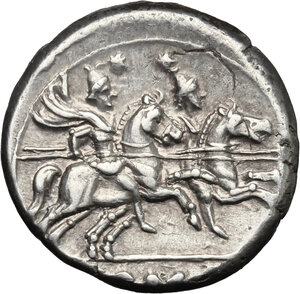 reverse: Anonymous issue.. AR Denarius, after 211 BC