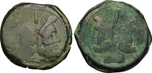obverse: Sextantal series.. Lot of 2 : AE Asses, after 211 BC
