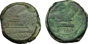 reverse: Sextantal series.. Lot of 2 : AE Asses, after 211 BC